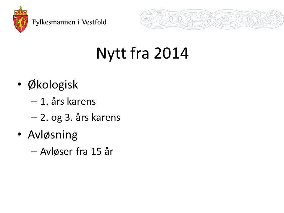 Nytt fra 2014 Økologisk Avløsning 1. års karens 2. og 3. års karens