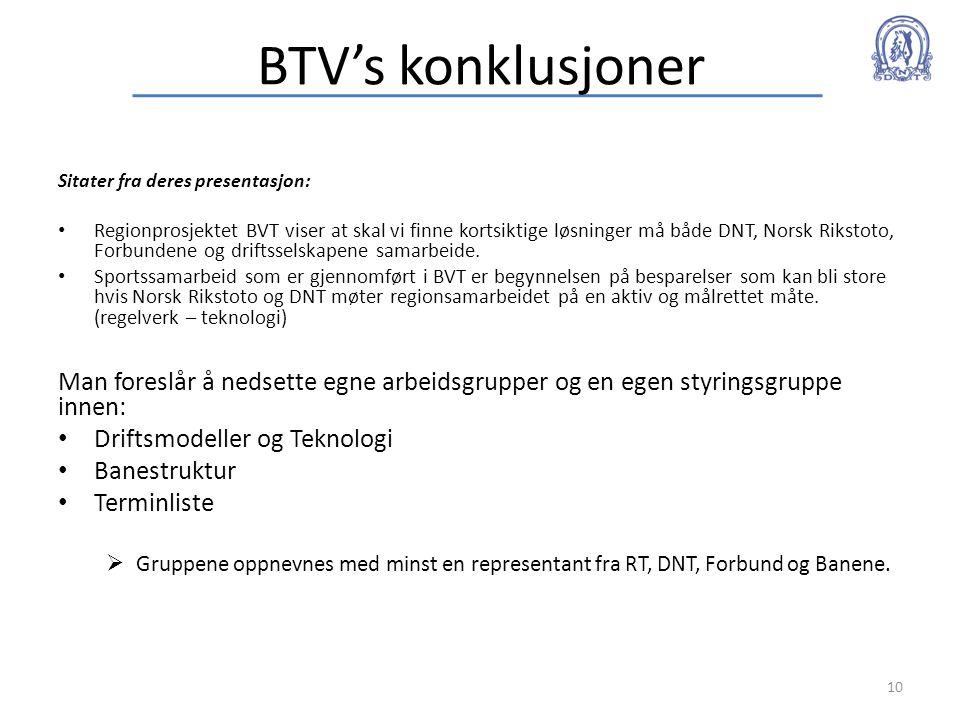 BTV's konklusjoner Sitater fra deres presentasjon: