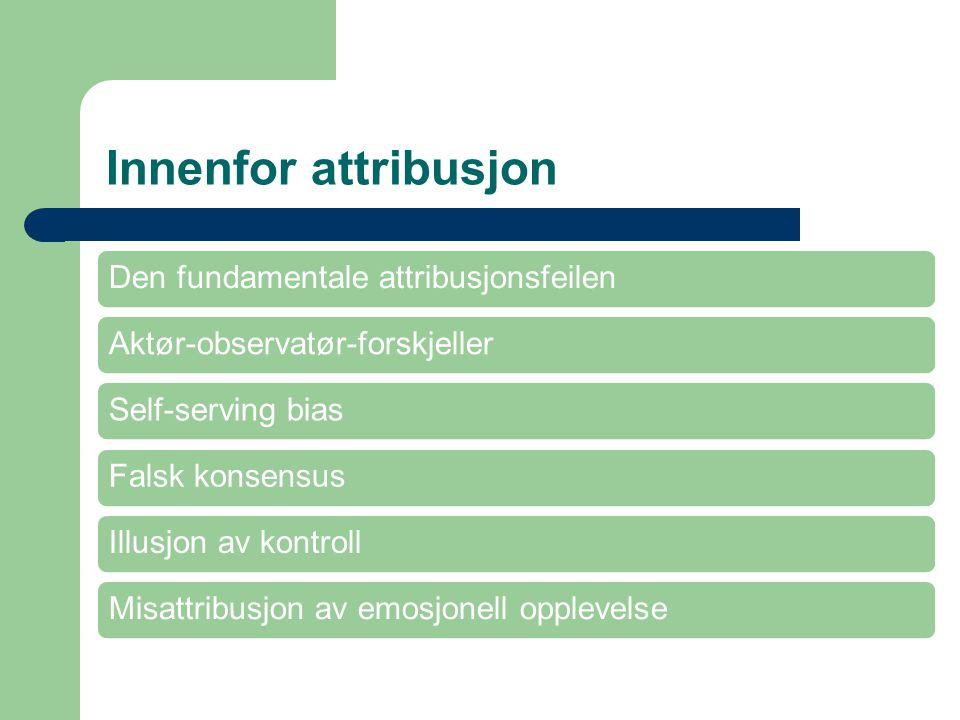 Innenfor attribusjon Den fundamentale attribusjonsfeilen