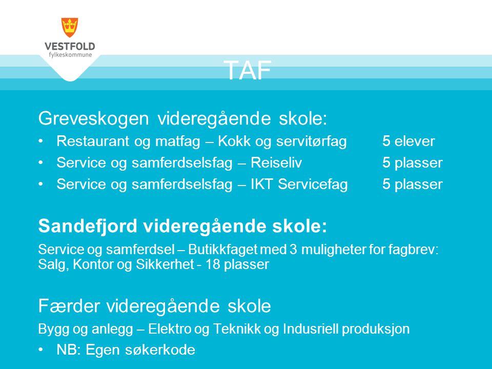 TAF Greveskogen videregående skole: Sandefjord videregående skole: