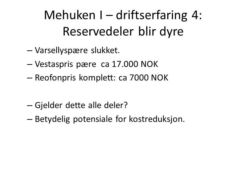 Mehuken I – driftserfaring 4: Reservedeler blir dyre