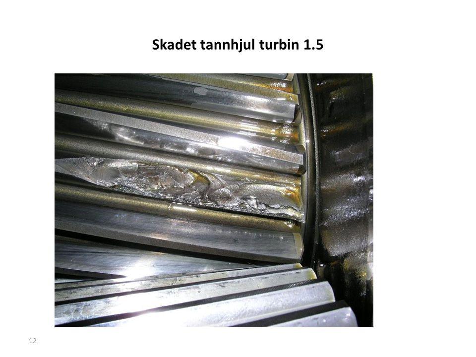 Skadet tannhjul turbin 1.5