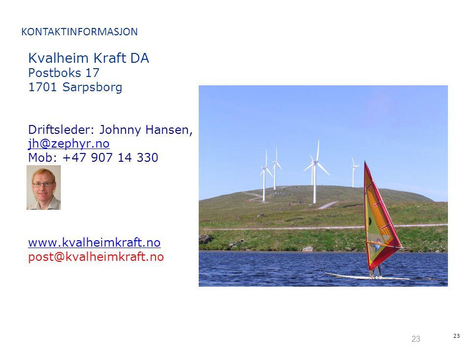 Kvalheim Kraft DA KONTAKTINFORMASJON Postboks 17 1701 Sarpsborg