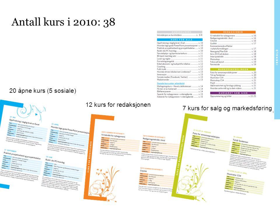 Antall kurs i 2010: 38 20 åpne kurs (5 sosiale)
