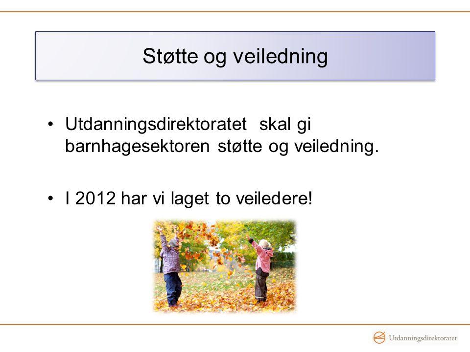 Støtte og veiledning Utdanningsdirektoratet skal gi barnhagesektoren støtte og veiledning.