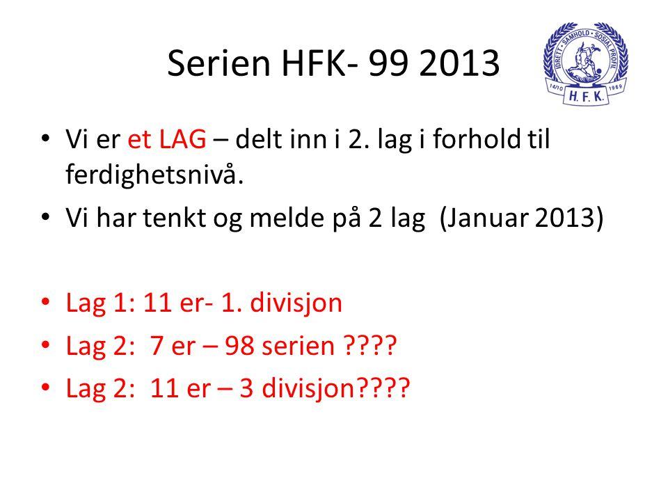 Serien HFK- 99 2013 Vi er et LAG – delt inn i 2. lag i forhold til ferdighetsnivå. Vi har tenkt og melde på 2 lag (Januar 2013)