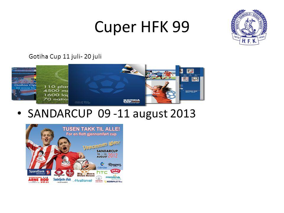 Cuper HFK 99 SANDARCUP 09 -11 august 2013 Gotiha Cup 11 juli- 20 juli