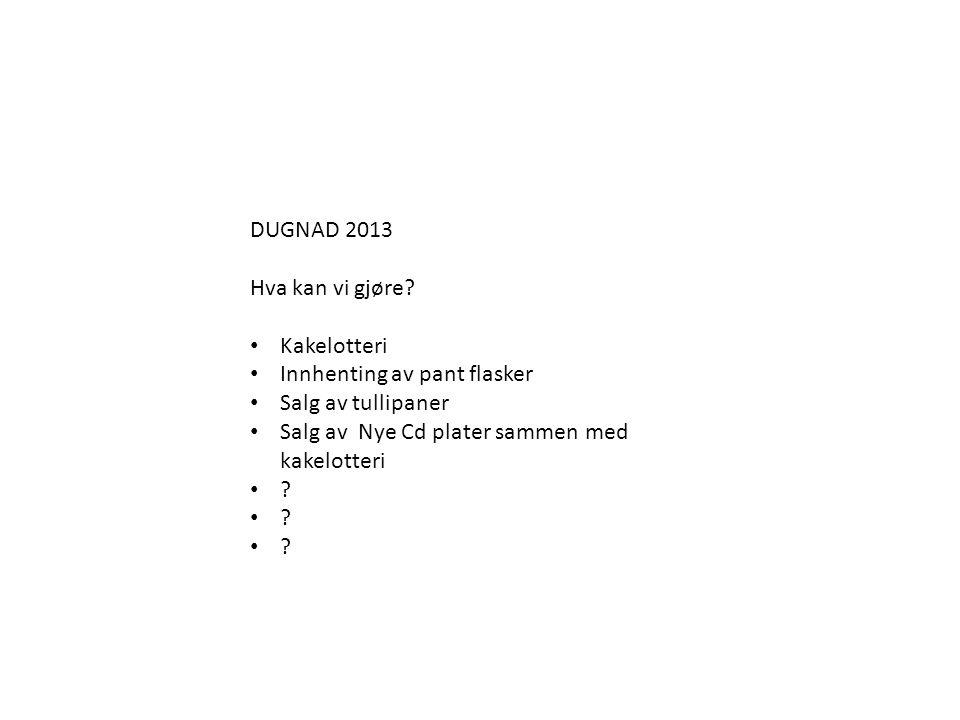 DUGNAD 2013 Hva kan vi gjøre Kakelotteri. Innhenting av pant flasker. Salg av tullipaner. Salg av Nye Cd plater sammen med kakelotteri.