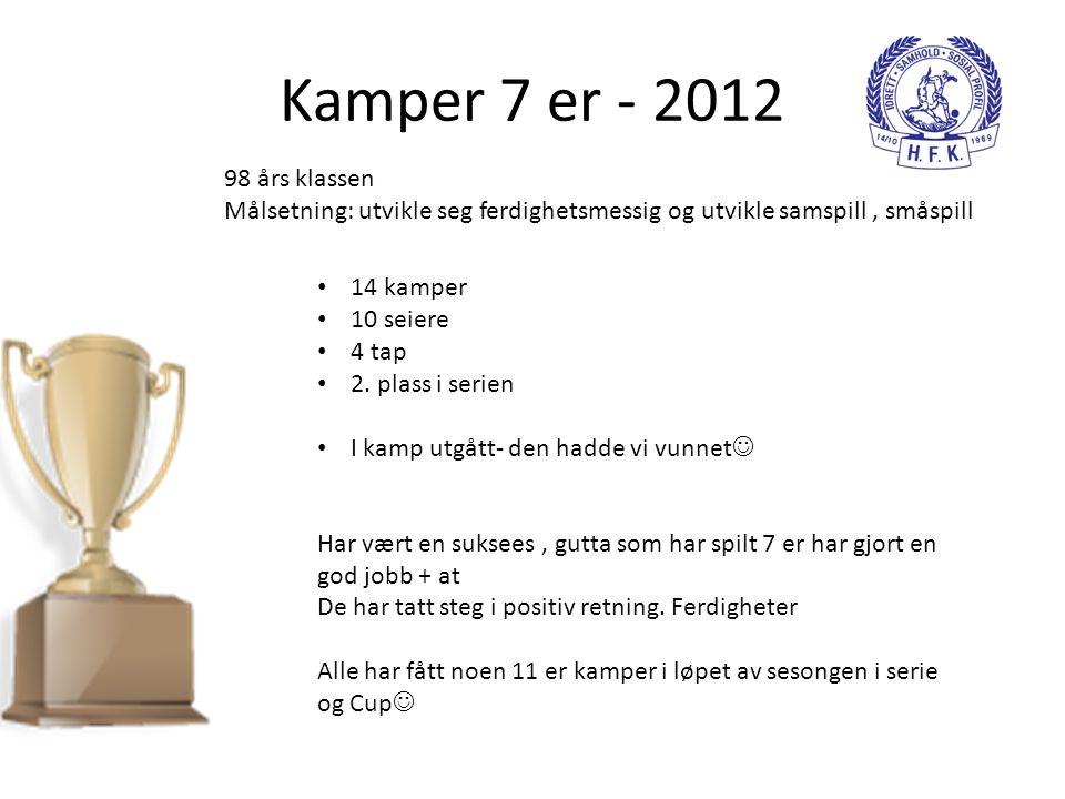 Kamper 7 er - 2012 98 års klassen. Målsetning: utvikle seg ferdighetsmessig og utvikle samspill , småspill.