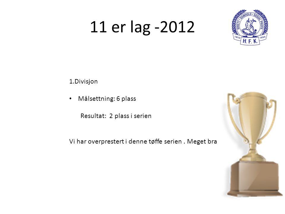 11 er lag -2012 1.Divisjon Målsettning: 6 plass