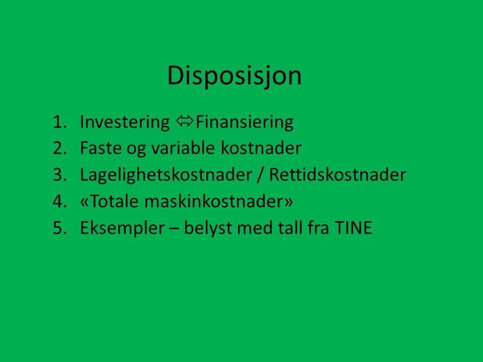 Disposisjon Investering Finansiering Faste og variable kostnader