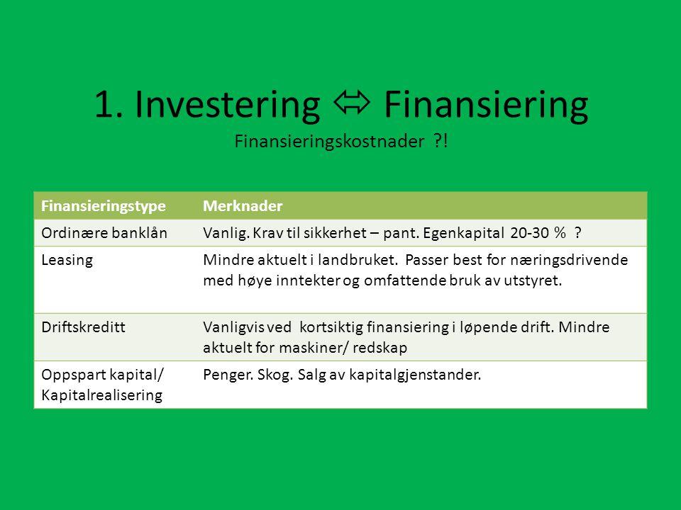 1. Investering  Finansiering Finansieringskostnader !