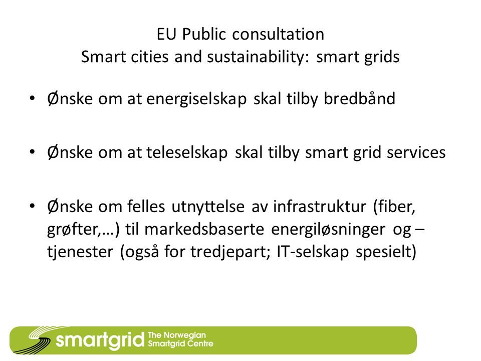 EU Public consultation Smart cities and sustainability: smart grids