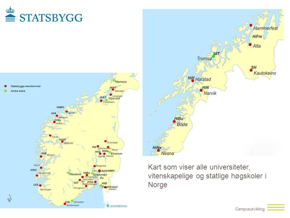 Kart som viser alle universiteter, vitenskapelige og statlige høgskoler i Norge