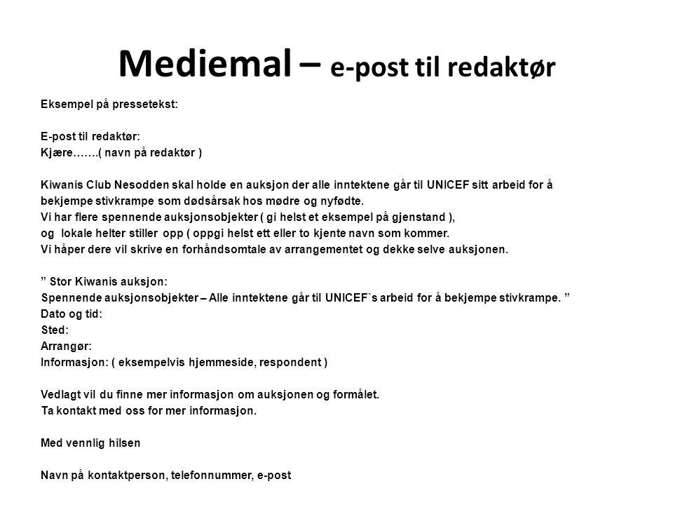Mediemal – e-post til redaktør