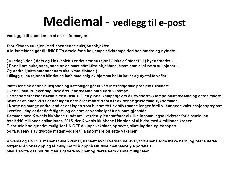 Mediemal - vedlegg til e-post