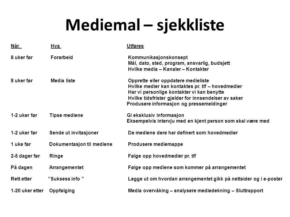 Mediemal – sjekkliste