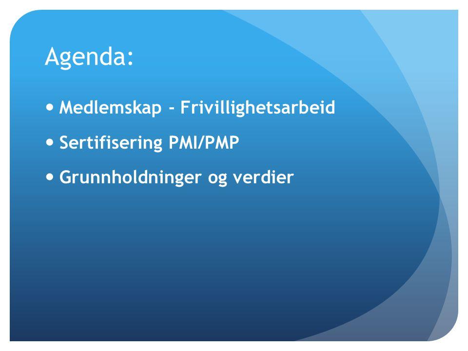 Agenda: Medlemskap - Frivillighetsarbeid Sertifisering PMI/PMP