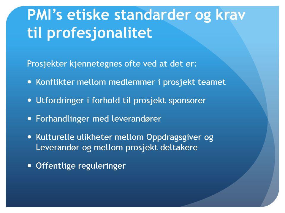 PMI's etiske standarder og krav til profesjonalitet