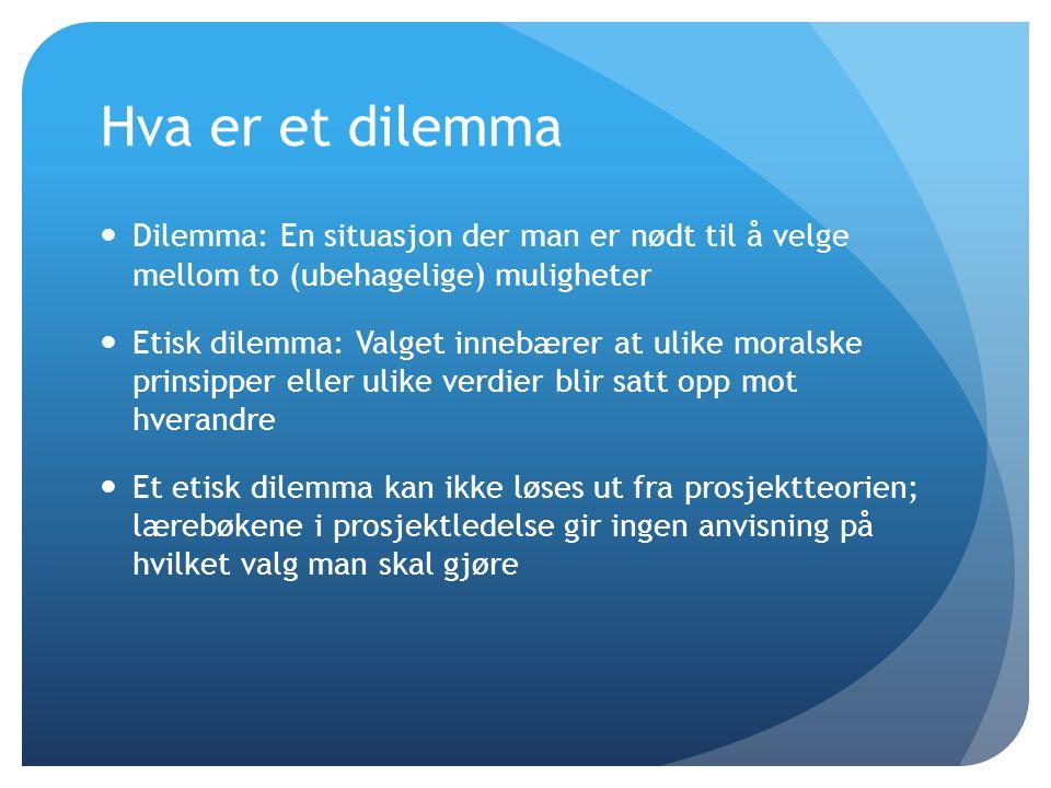 Hva er et dilemma Dilemma: En situasjon der man er nødt til å velge mellom to (ubehagelige) muligheter.