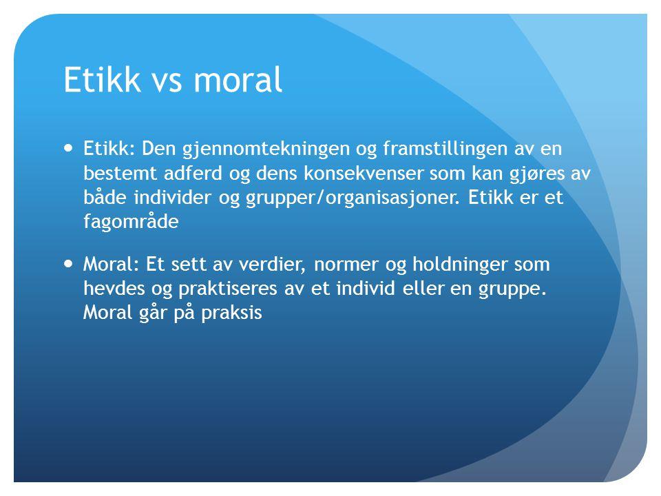 Etikk vs moral