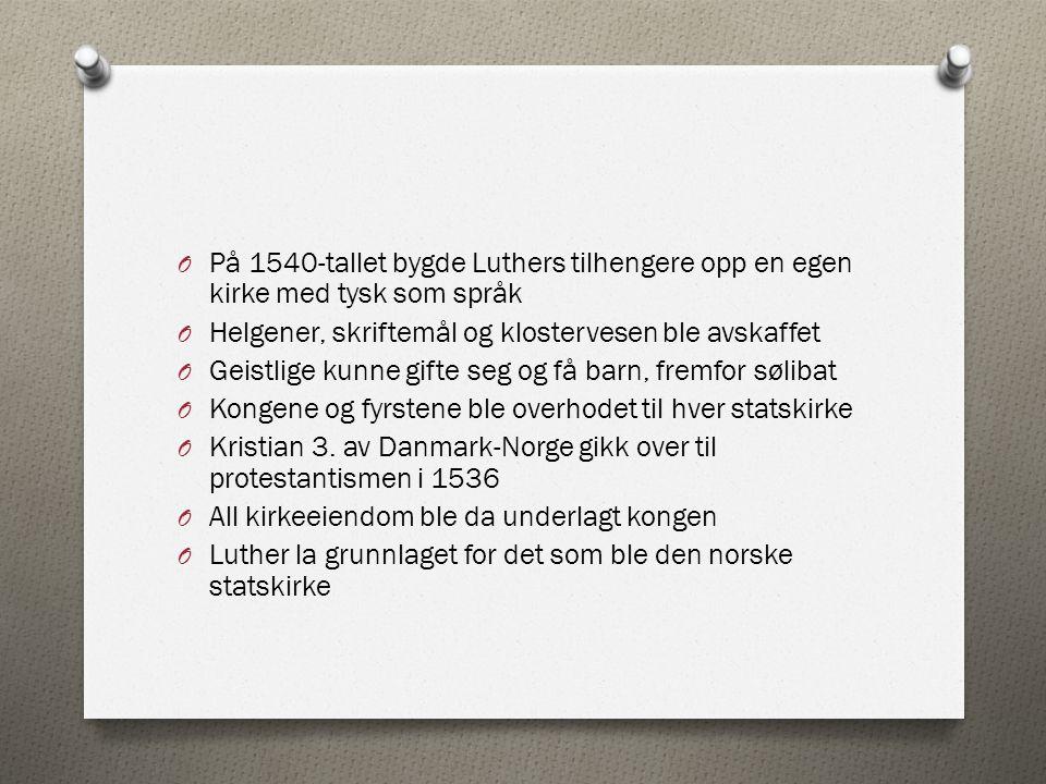 På 1540-tallet bygde Luthers tilhengere opp en egen kirke med tysk som språk