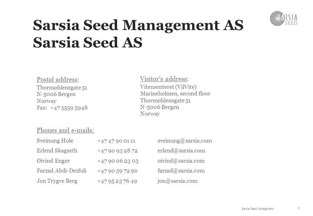 Sarsia Seed Management AS Sarsia Seed AS