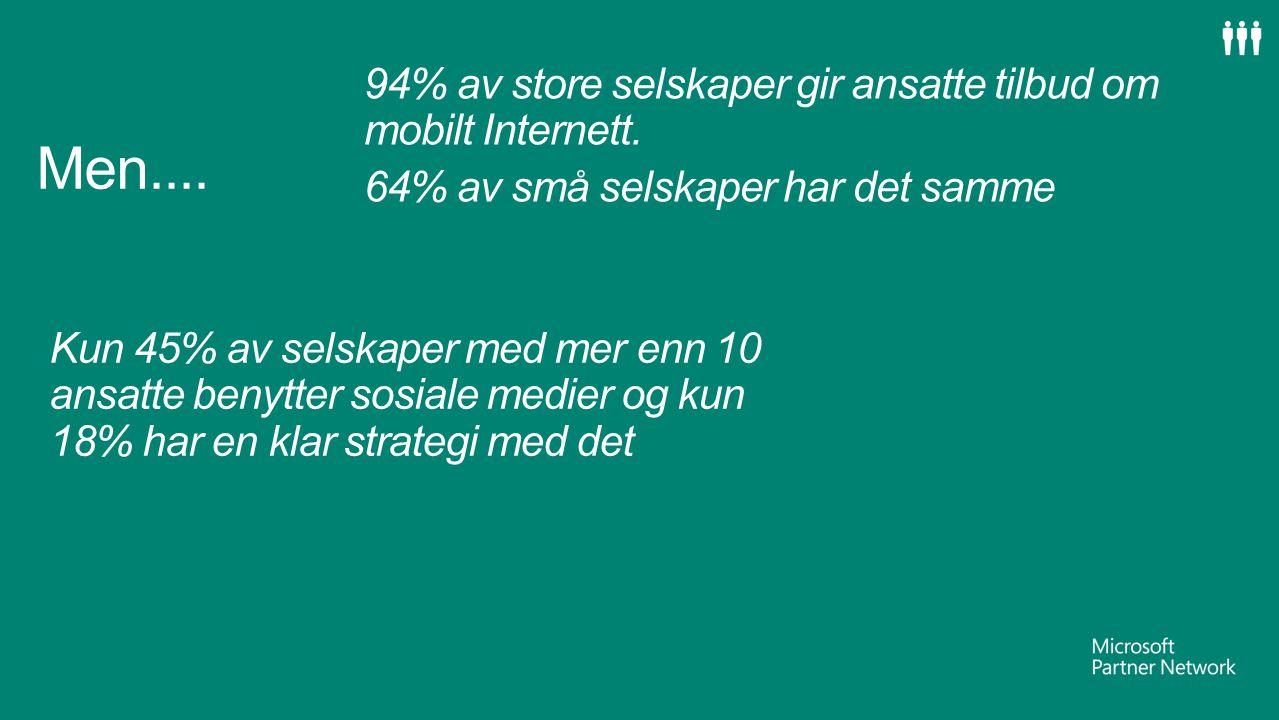 Men.... 94% av store selskaper gir ansatte tilbud om mobilt Internett.