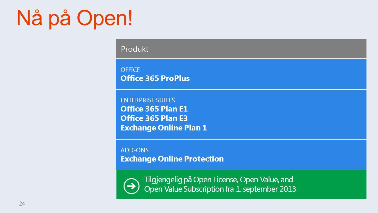 Nå på Open! Produkt Office 365 ProPlus Office 365 Plan E1