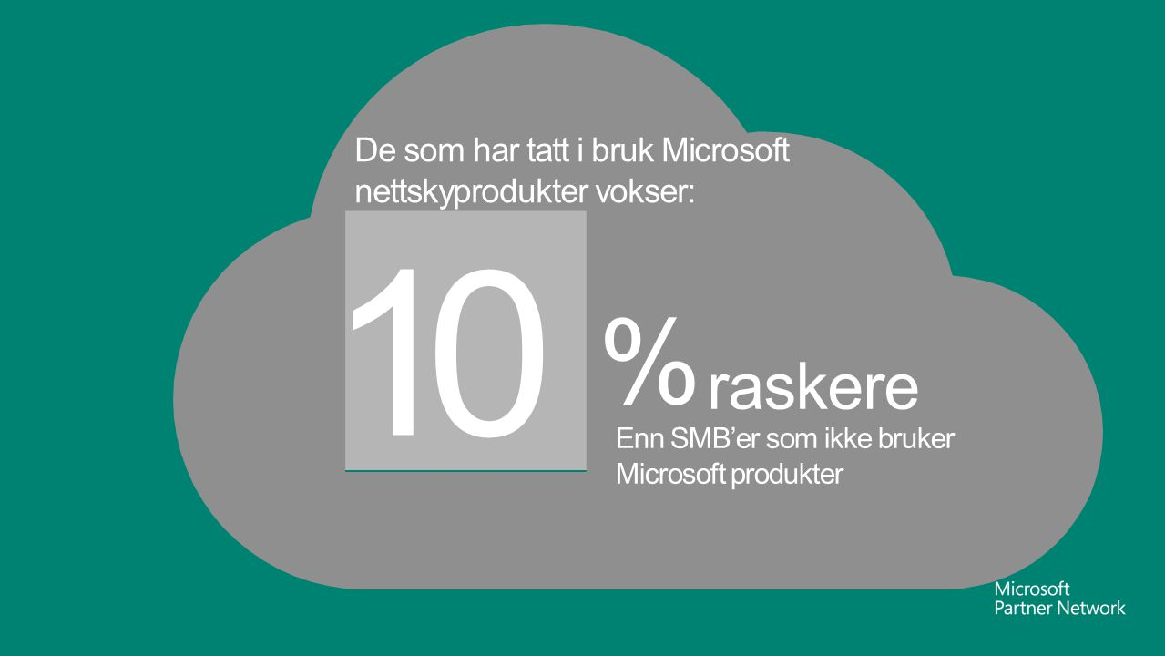 10 % raskere De som har tatt i bruk Microsoft nettskyprodukter vokser: