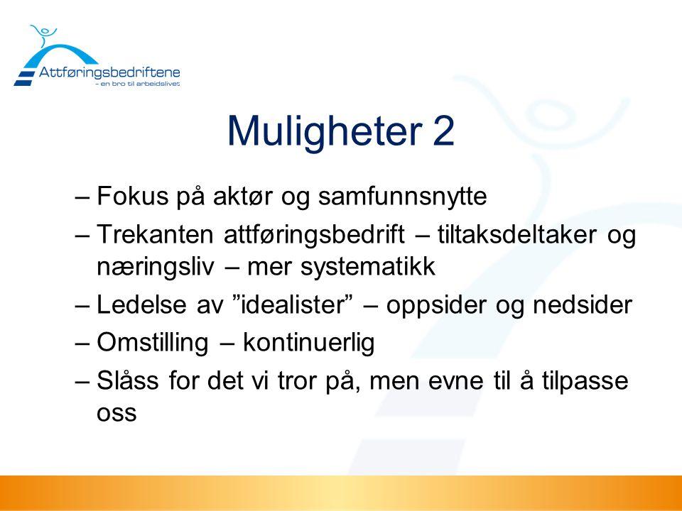 Muligheter 2 Fokus på aktør og samfunnsnytte