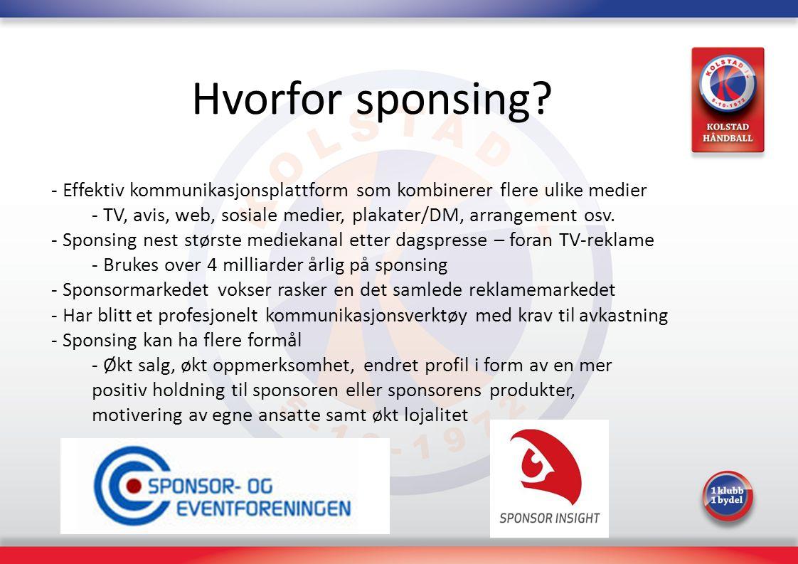 Hvorfor sponsing Effektiv kommunikasjonsplattform som kombinerer flere ulike medier. TV, avis, web, sosiale medier, plakater/DM, arrangement osv.
