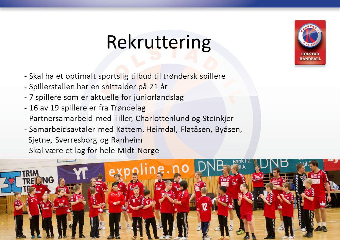 Rekruttering Skal ha et optimalt sportslig tilbud til trøndersk spillere. Spillerstallen har en snittalder på 21 år.
