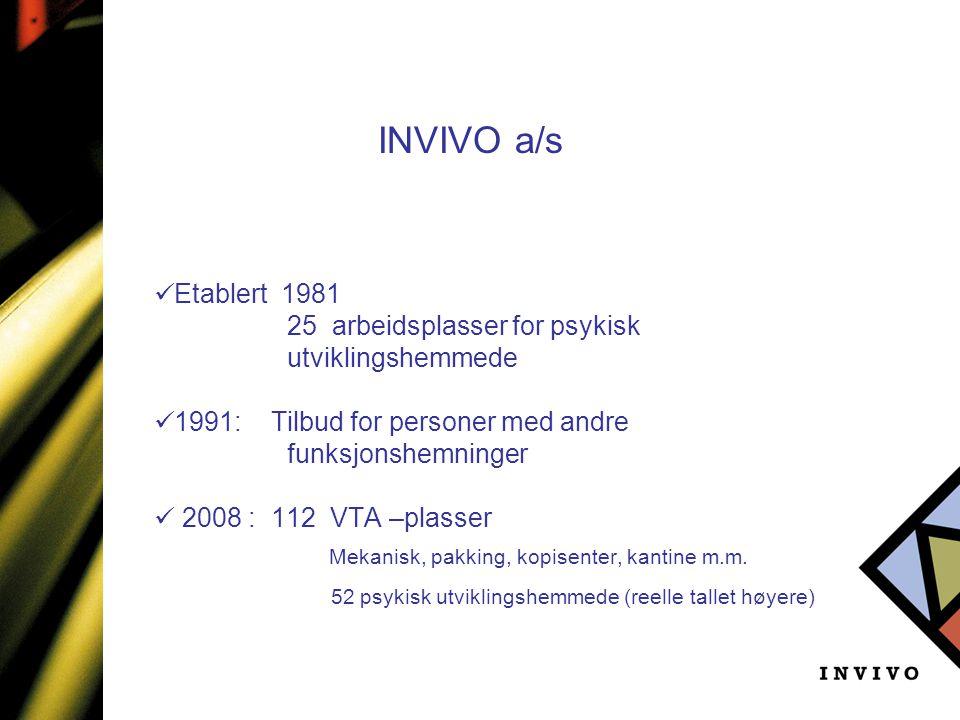 INVIVO a/s Mekanisk, pakking, kopisenter, kantine m.m. Etablert 1981