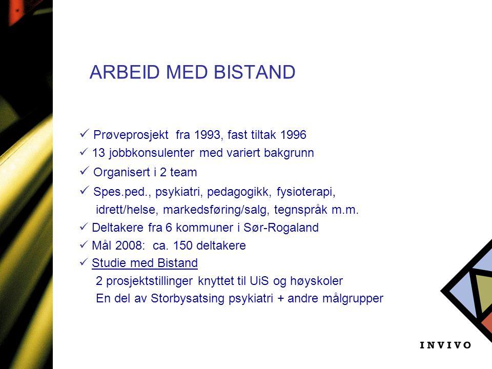 ARBEID MED BISTAND Prøveprosjekt fra 1993, fast tiltak 1996
