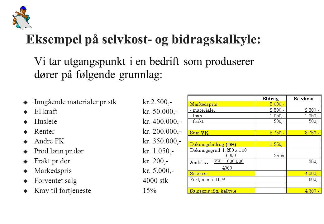 Eksempel på selvkost- og bidragskalkyle: