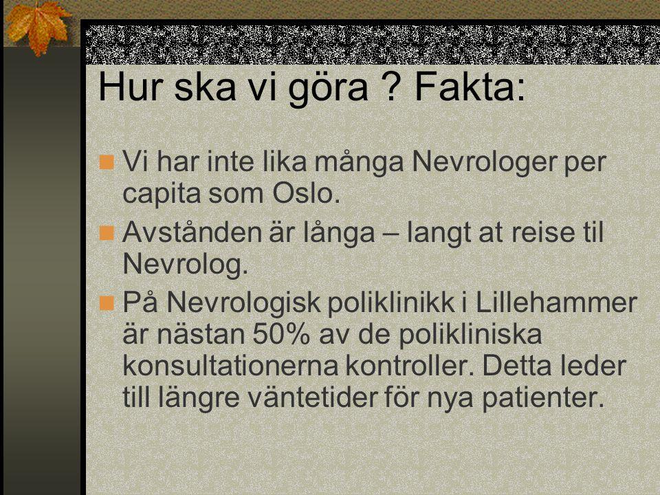 Hur ska vi göra Fakta: Vi har inte lika många Nevrologer per capita som Oslo. Avstånden är långa – langt at reise til Nevrolog.