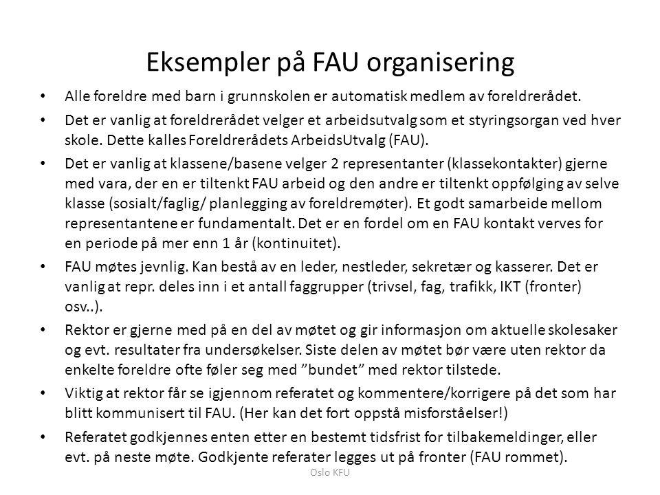 Eksempler på FAU organisering