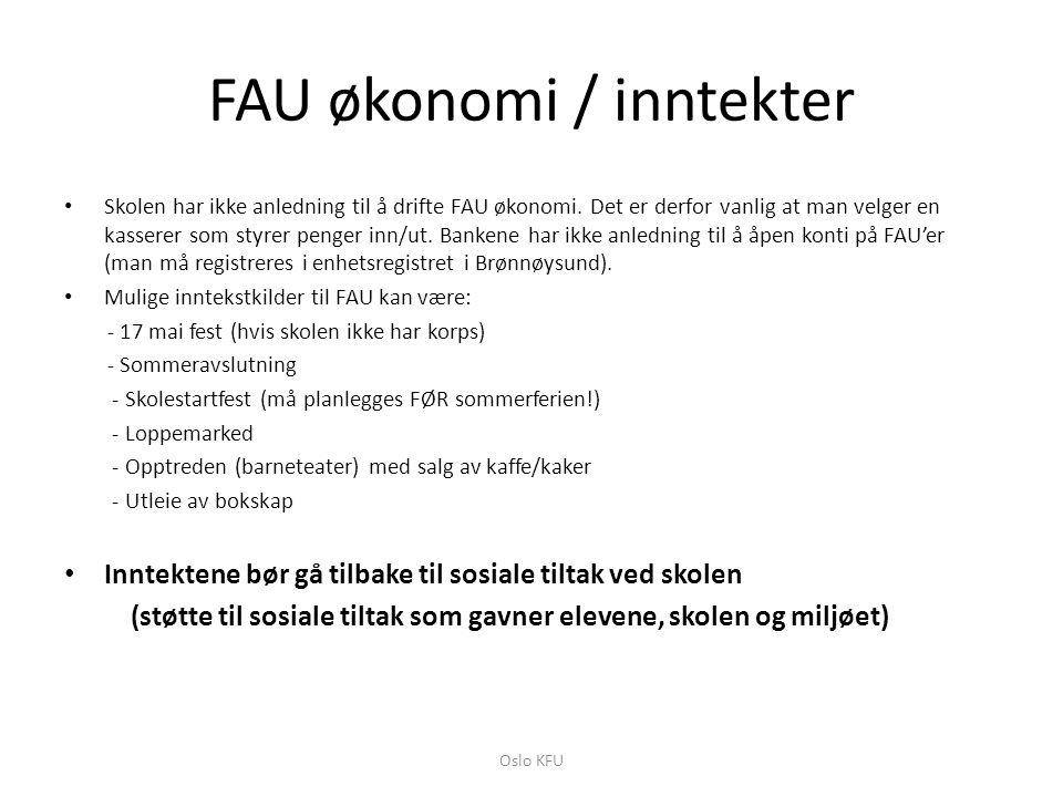 FAU økonomi / inntekter