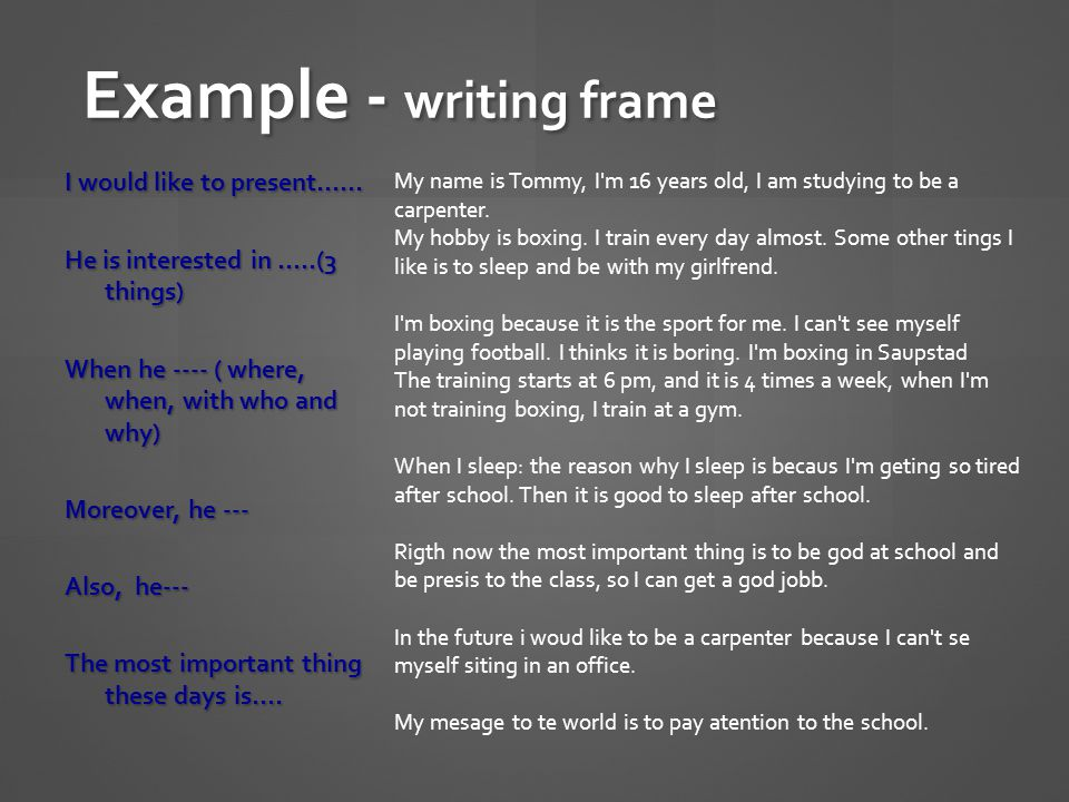 Example - writing frame