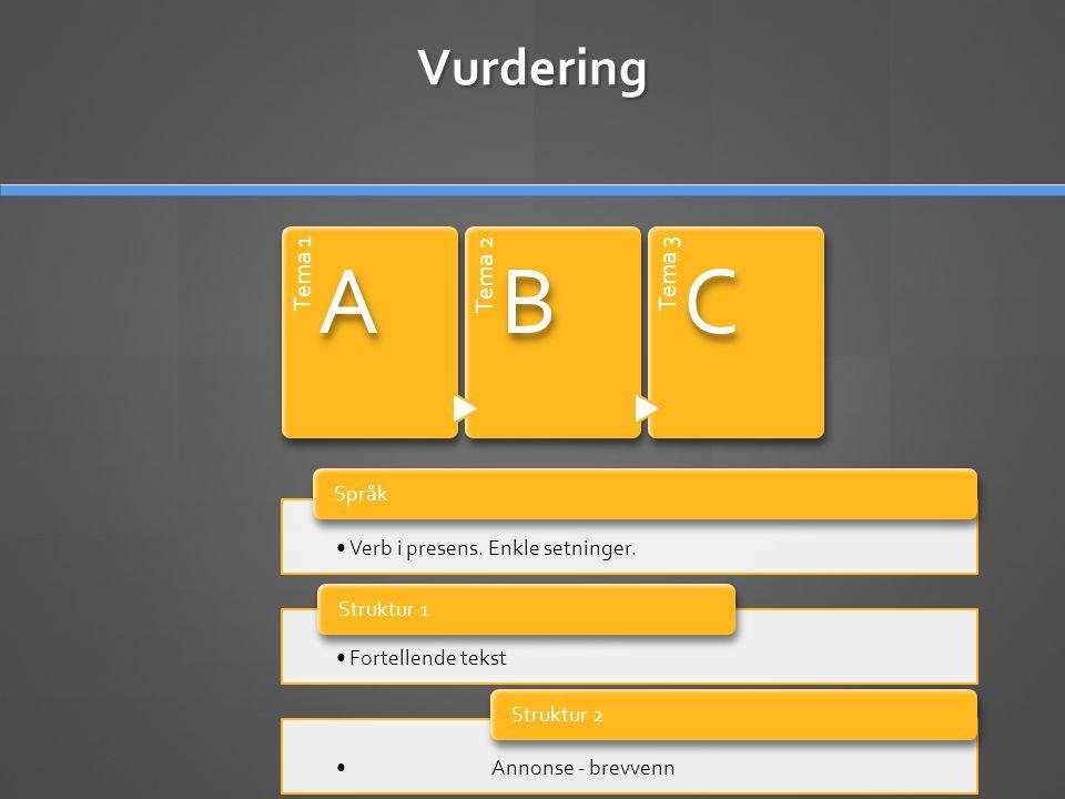 A B C Vurdering Tema 1 Tema 2 Tema 3 Språk