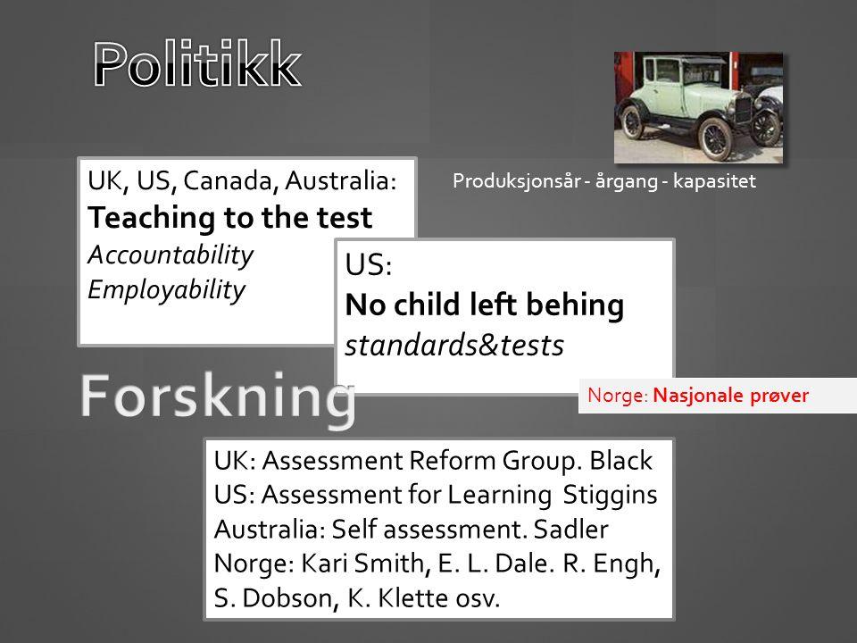 Politikk Forskning US: No child left behing standards&tests