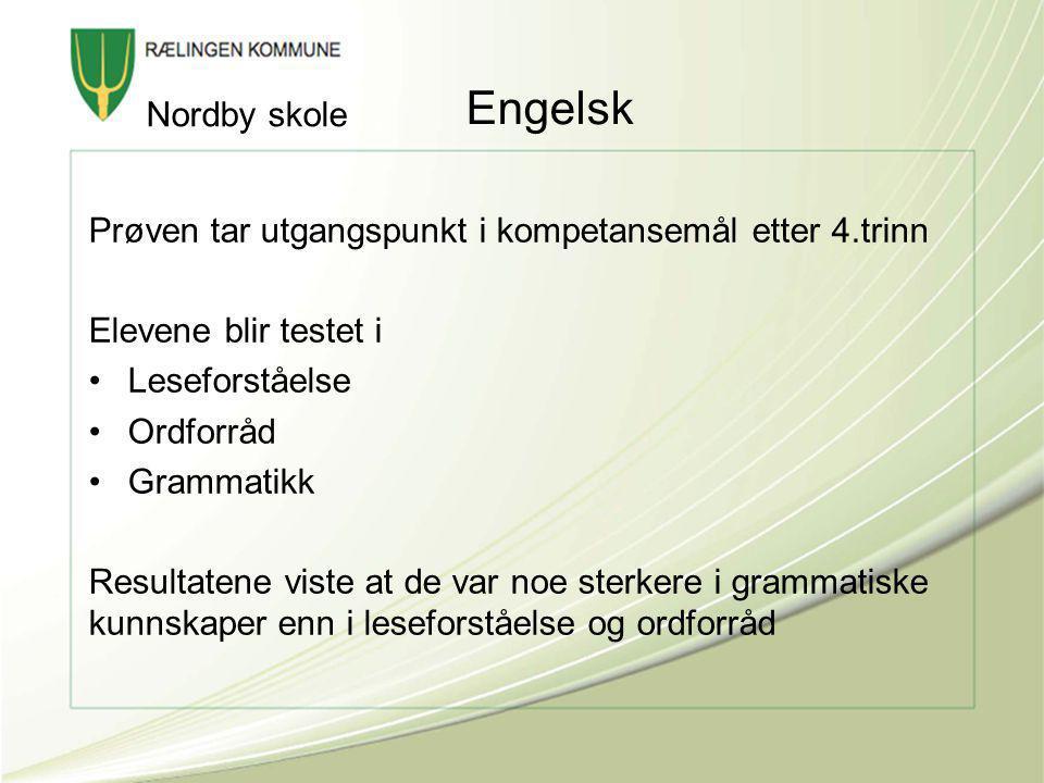 Engelsk Nordby skole. Prøven tar utgangspunkt i kompetansemål etter 4.trinn. Elevene blir testet i.