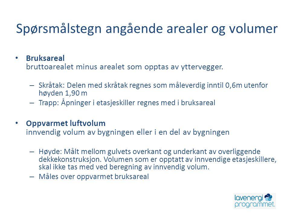 Spørsmålstegn angående arealer og volumer