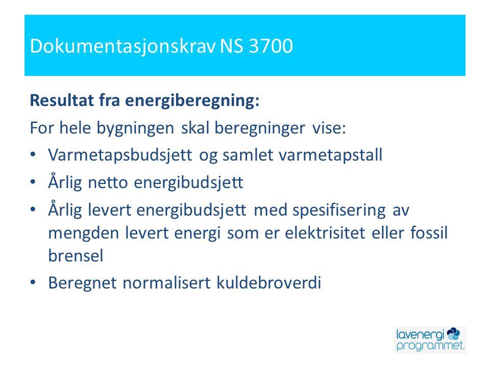 Dokumentasjonskrav NS 3700