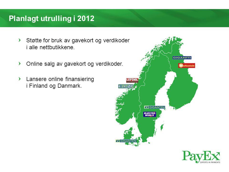 Planlagt utrulling i 2012 Støtte for bruk av gavekort og verdikoder i alle nettbutikkene. Online salg av gavekort og verdikoder.
