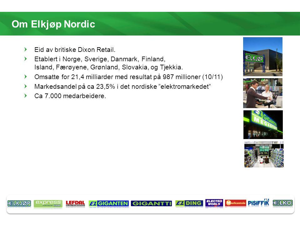Om Elkjøp Nordic Eid av britiske Dixon Retail.