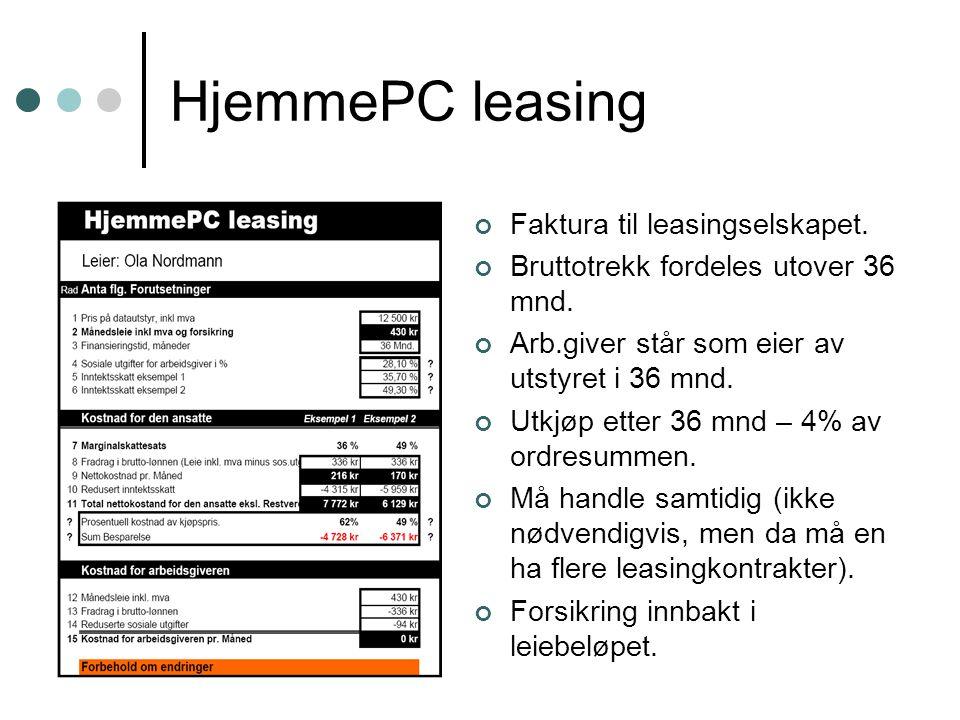 HjemmePC leasing Faktura til leasingselskapet.