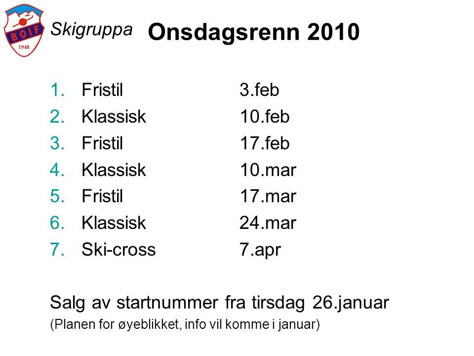 Onsdagsrenn 2010 Skigruppa Fristil 3.feb Klassisk 10.feb