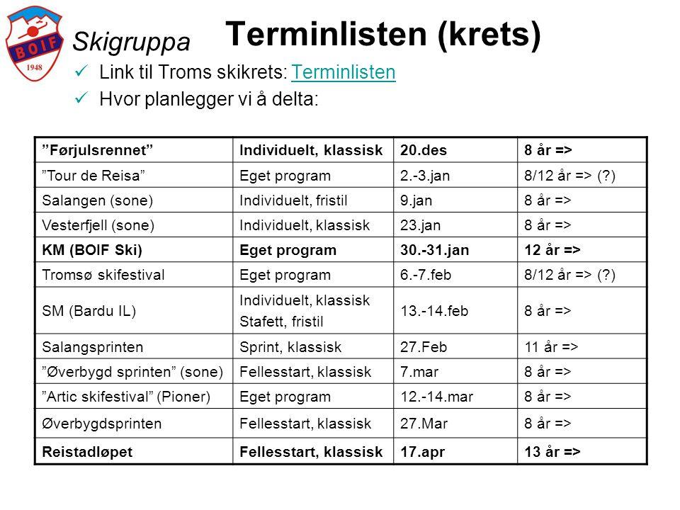 Terminlisten (krets) Skigruppa Link til Troms skikrets: Terminlisten